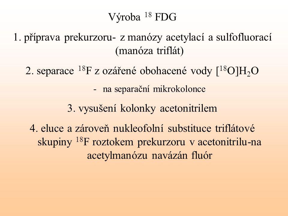 2. separace 18F z ozářené obohacené vody [18O]H2O